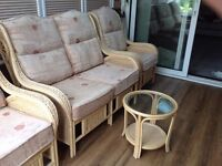 Cane furniture set - 2 seat sofa + two armchairs + coffee table