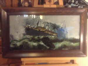 Antique Reverse Painting Of Sinking Titanic