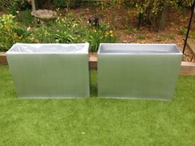 Tall zinc galvanised silver trough planters with inserts