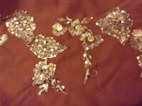 Brown voile sari with gold embroidery detail 4.88 x 1.22 m