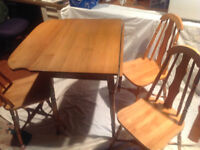 1940's antique solid birch wood table with three chairs