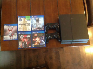PS4 console, 2 controllers and 5 games