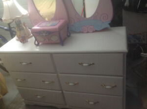 Child's long while dresser, mirrors and princess lamp