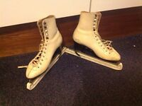 White ice skates and guards size 4 1/2