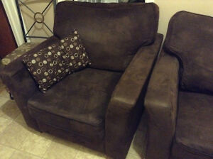 brown microfiber couch and loveseat delivery included