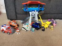 Paw patrol lookout with 6 vehicles and pups
