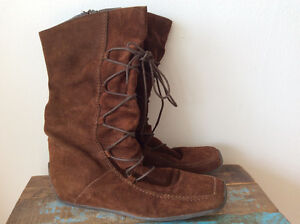Brown Suede Lace-up Look Boot
