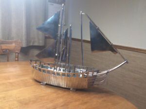 Vintage stainless steel sail boat ship !