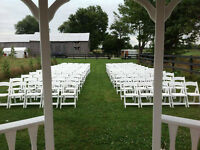 Selling 200 White Wooden Folding Wedding Chairs