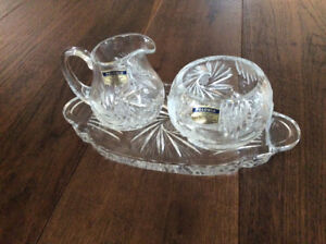 Crystal cream and sugar set with tray