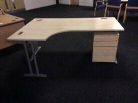 Light oak L/Shape desk with pedestal
