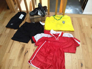 soccer clothes and  equipments