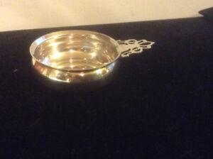 Porringer Form Open Salt Dish Pierced Handle Lunt Sterling Silve