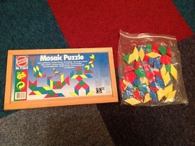 Kids wooden Mosaic puzzle and board - excellent condition.