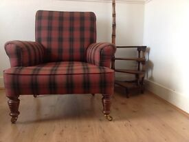Antique fireside scrolled back armchair