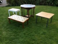 A selection of small old tables