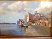 Large Original Painting - B.H. Smith - Ipswich Docks Suffolk - Oil on board