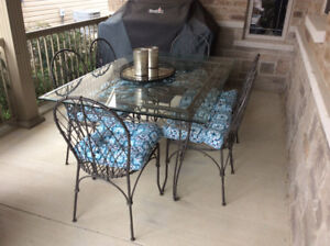 Unique iron patio set 6 chairs large table glass top