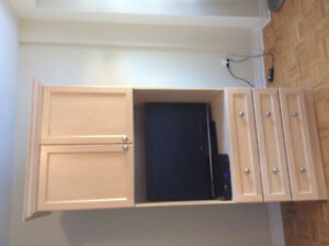 Custom Made Solid Maple & Brushed Nickle Entertainment Unit
