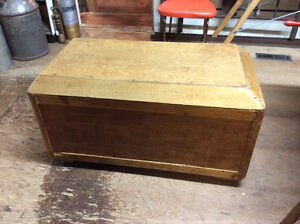Primitive chest / trunk with domed lid, on casters