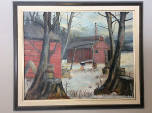 Large framed oil on board painting