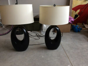 Two table lamps for sale - wood base chocolate brown/black