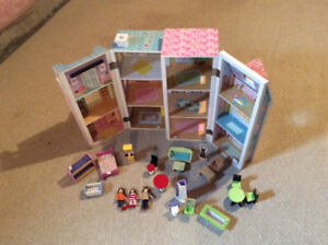 Wooden Doll house and Accessories