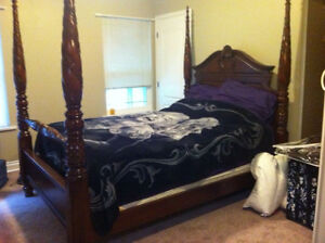 Queen size four post bed frame