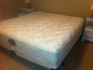 King size mattress, box spring, frame, and protector