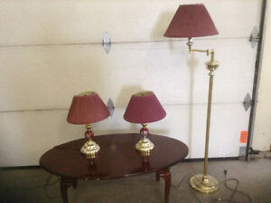 Pole lamp and end table lamps
