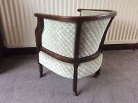 ANTIQUE BEAUTIFUL BUCKET CHAIR, RE UPHOLSTERED.