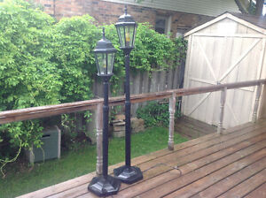 2 Patio Coach Lamps. ... Working well! ....Attractive on deck!