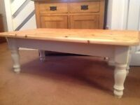 Refurbished solid pine coffee table painted in Laura Ashley Eggshell