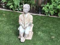 Antique cast stone statue/sculpture fishing boy garden decor !