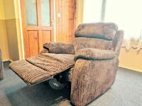 Brown cord RECLINERS sofa set 3 seaters & 1 seater.