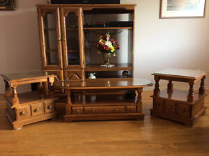 Coffee table, 2 end tables, entertainment centre