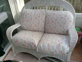 Shabby chic white conservatory sofa and chair