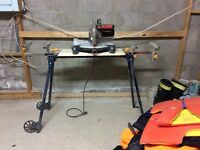 Chop saw with adjustable foldable stand