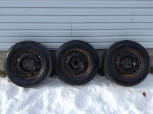 Set of 3 winter tires on steel rims