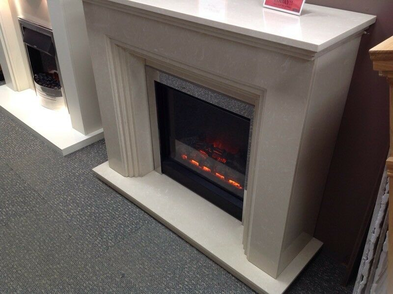 Cream Marble Fireplace Suite Including Electric Fire