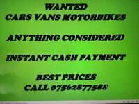 Cash paid on collection car and vans