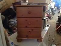 Solid wood pine bedside drawers table