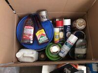 Box of paints, oils, etc.