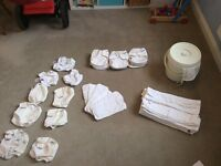 Nappy Bundle - 12 bamboo motherease nappys, 12 pre-folds, 9 wraps, 6 boosters, nappy bucket + net