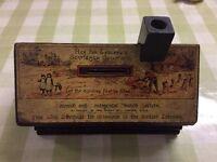 Victorian wooden money box, very good condition