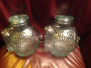TWO SVE ITALY Glass Fish Canisters with Lids Green
