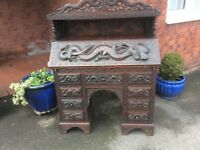 19th century Oriental Neo Carved Writing Bureau