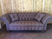 CHESTERFIELD SOFA AND SCROLL FABRIC BROWN £850 ono