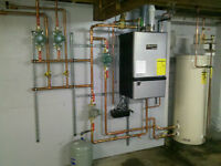 Install new gas line, Replace hot water tank, Furnace, Boiler
