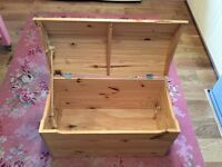 Large pine toy chest, pirate chest with domed lid and rope handles